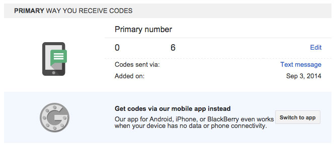 Get your codes from the app.