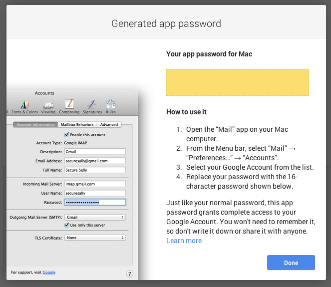 One password per app.