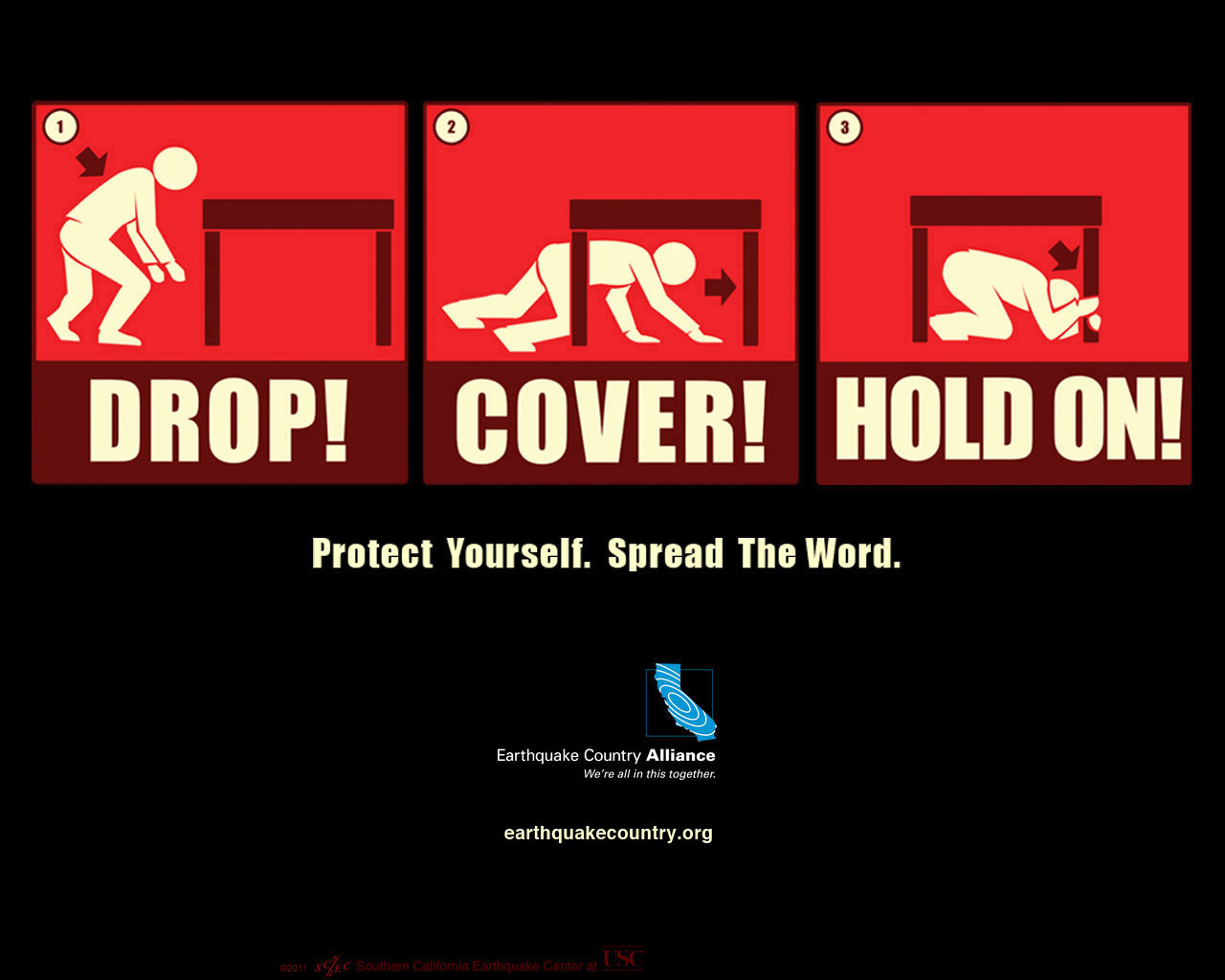 Drop, Cover, Hold.